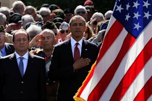 U S President Barack Obama and French President Hollande participate in the 70-anniversary of D-Day in Normandy