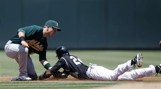 Parker, Moss lead A's to sweep of Rockies