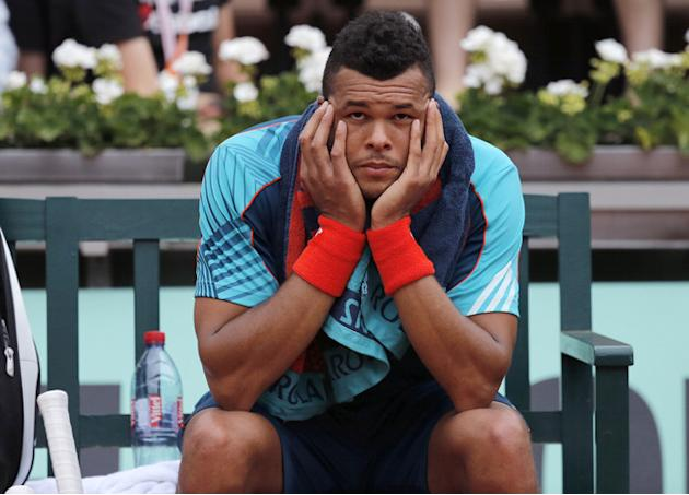 France's Jo-Wilfried Tsonga Reacts  AFP/Getty Images