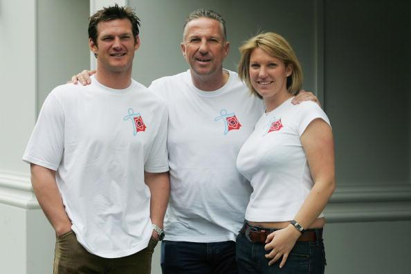 LONDON - APRIL 27:  Ian Botham poses for a photograph with son Liam Botham and daughter Sarah Botham after a press conference to launch his charity walk for cancer on April 27, 2006 in London, England