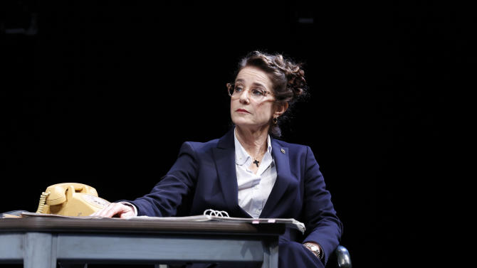 """This undated publicity photo provided by Jeffrey Richards Associates shows Debra Winger during a performance of the David Mamet play """"The Anarchist,"""" at the John Golden Theatre in New York. (AP Photo/Jeffrey Richards Associates, Joan Marcus)"""