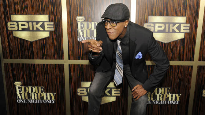 """Arsenio Hall poses at """"Eddie Murphy: One Night Only,"""" a celebration of Murphy's career at the Saban Theater on Saturday, Nov. 3, 2012, in Beverly Hills, Calif. (Photo by Chris Pizzello/Invision)"""