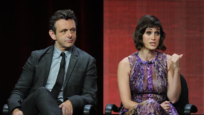 """From left, actors Michael Sheen and Lizzy Caplan participate in the """"Masters of Sex"""" panel at the 2013 Showtime Summer TCA Press Tour at the Beverly Hilton Hotel on Tuesday, July 30, 2013 in Beverly Hills, Calif. (Photo by Frank Micelotta/Invision/AP)"""