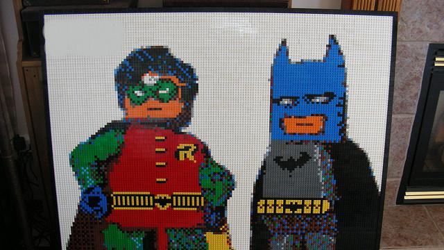 Lego Batman and Robin Mosaic by Dave Ware