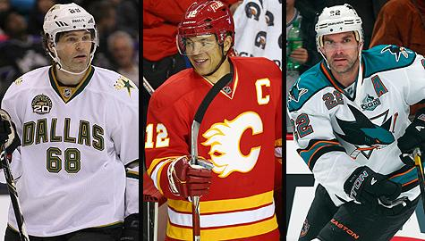 Dallas Stars' Jaromir Jagr, Calgary Flames' Jarome Iginla and San Jose Sharks' Dan Boyle