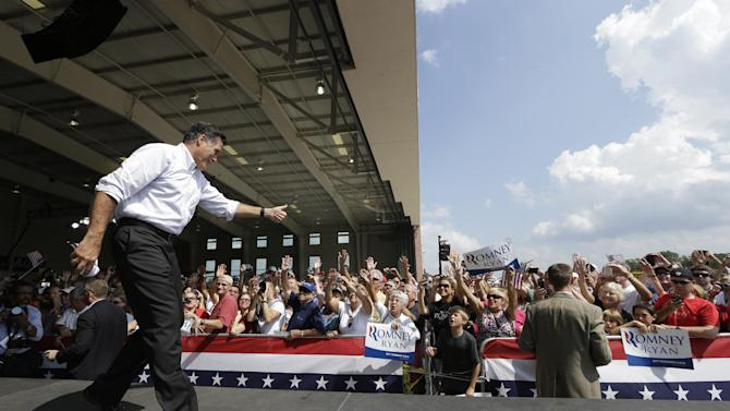 Republican presidential candidate Mitt Romney campaigns at the Military Aviation Museum in Virginia Beach, Va., Saturday, Sept. 8, 2012. (AP Photo/Charles Dharapak)