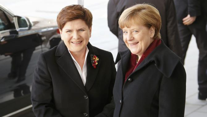 German Chancellor Merkel shakes hands with Polish Prime Minister Szydlo at the Chancellery in Berlin