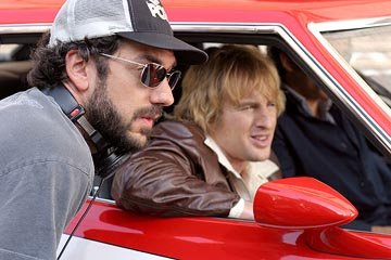 Director Todd Phillips and Owen Wilson on the set of Warner Bros. Starsky & Hutch