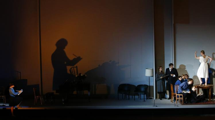 Singers perform on stage during a dress rehearsal of 'Charlotte Salomon' in Salzburg