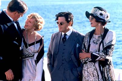 Edward Herrmann as William Randolph Hearst, Kirsten Dunst as Marion Davies, Eddie Izzard as Charlie Chaplin and Joanna Lumley as Elinor Glyn in Lions Gate's The Cat's Meow