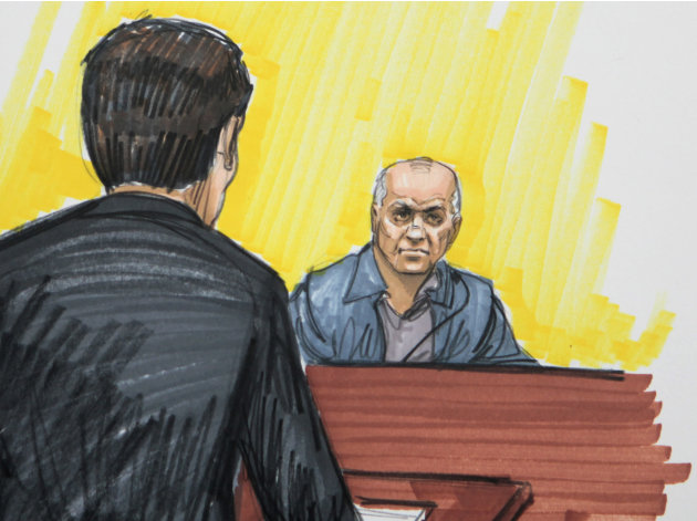 FILE - In this May 23, 2011 file courtroom sketch, David Coleman Headley is shown in federal court in Chicago. Headley, who was convicted of charges related to a central role he played in the 2008 ter