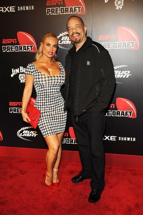 IMAGE DISTRIBUTED FOR ESPN - Ice-T, right, and Coco Austin arrive at the 10th annual ESPN The Magazine Pre-Draft Party at The IAC Building on the eve of the draft, Wednesday, April 24, 2013, in New York City, New York. (Photo by Scott Gries/Invision for ESPN The Magazine/AP Images)