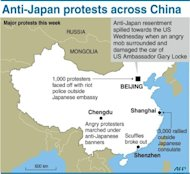 Graphic showing anti-Japan protests across China this week, including demonstrators Wednesday who surrounded the car of US ambassador Gary Locke