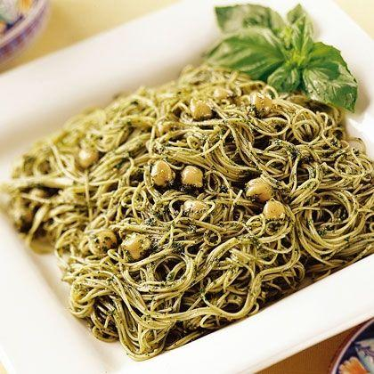 Angel Hair with Pesto and Chickpeas