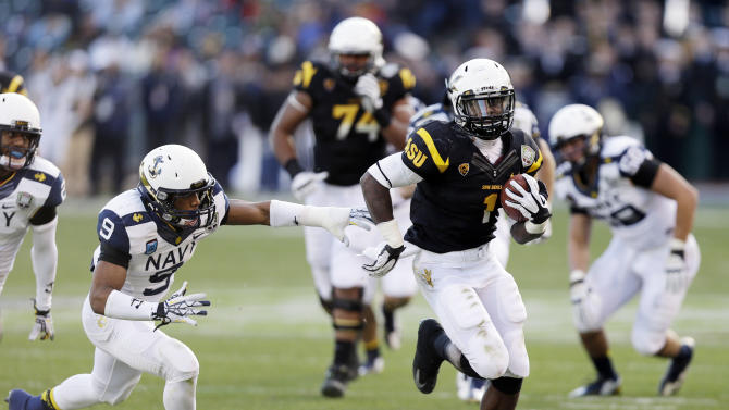 Arizona State running back Marion Grice (1) runs past Navy safety Tra'ves Bush (9) on a 39-yard touchdown run during the second half of the Fight Hunger Bowl NCAA college football game in San Francisco, Saturday, Dec. 29, 2012. (AP Photo/Marcio Jose Sanchez)