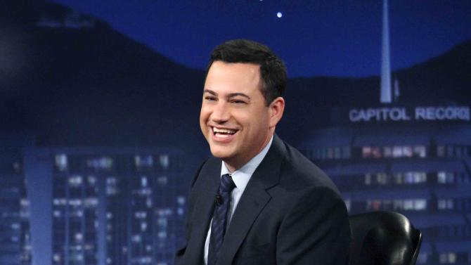 """This July 25, 2012 photo released by ABC shows Jimmy Kimmel hosting his late night show """"Jimmy Kimmel Live,"""" in the Hollywood section of Los Angeles. ABC says it's moving """"Jimmy Kimmel Live"""" into the thick of the late-night fight against Jay Leno and David Letterman. Starting in January, Kimmel's talk show will take over the 11:35 p.m. time slot long held by the news magazine """"Nightline,"""" ABC said Tuesday, Aug. 21. (AP Photo/ABC, Richard Cartwright)"""