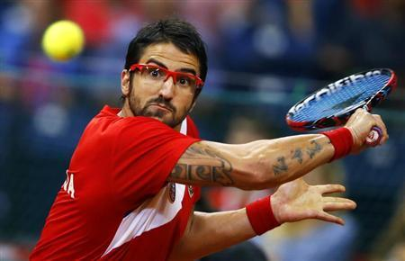 Serbia's Tipsarevic returns the ball to Canada's Pospisil during their Davis Cup semi-final tennis match in Belgrade