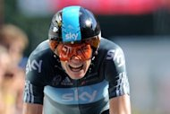 Great Britain&#39;s Christopher Froome competes at the end of the 41,5 km individual time-trial and ninth stage of the 2012 Tour de France cycling race starting in Arc-et-Senans and finishing in Besancon, eastern France