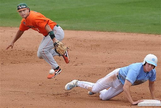 North Carolina's Michael Russell, right, steals second base as Miami's Alexander Hernandez awaits the late throw during the Atlantic Coast Conference college baseball championship at the Durham Bulls