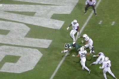 Michigan State WR tops his spin move with an even better spin, then dives for the TD