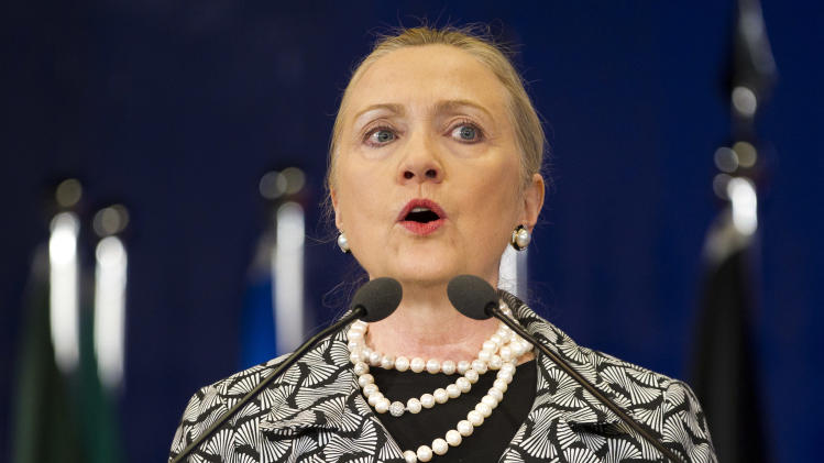 U.S. Secretary of State Hillary Rodham Clinton gives a speech at the United Nations Conference on Sustainable Development, or Rio+20, in Rio de Janeiro, Brazil, Friday, June 22, 2012.(AP Photo/Victor R. Caivano)