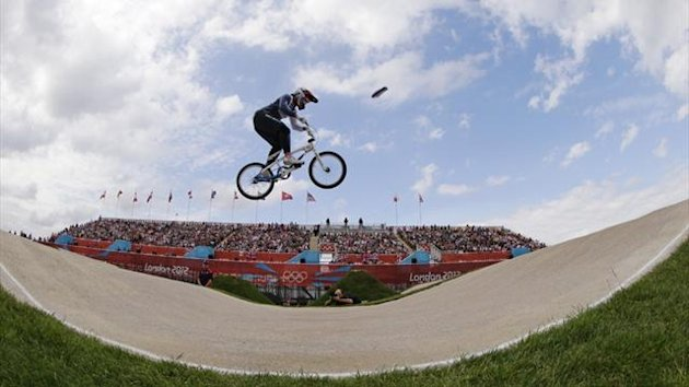 Britain's Shanaze Reade competes in the women's BMX seeding run during the London 2012 Olympic Games (Reuters)