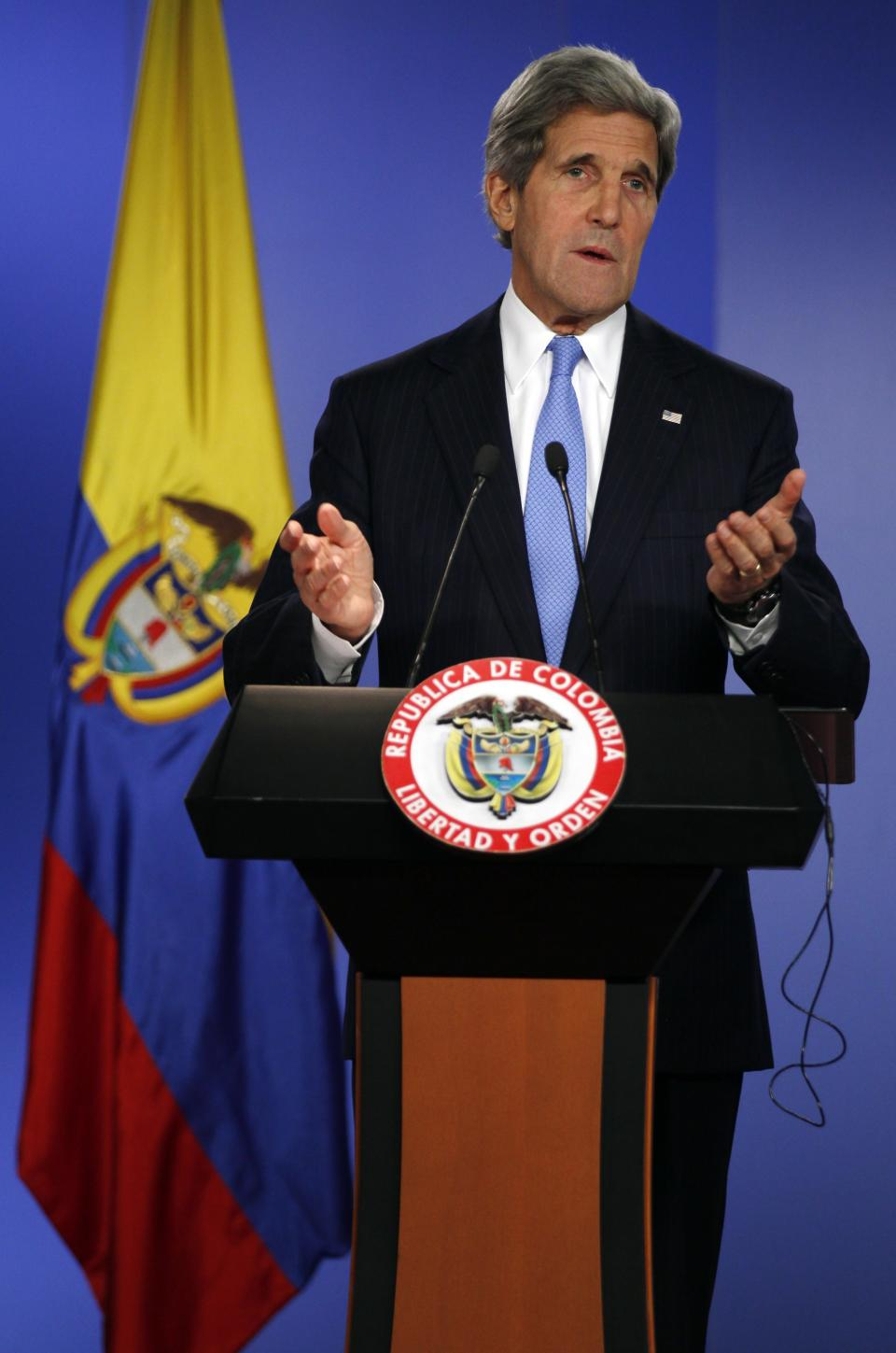 U.S. Secretary of State John Kerry speaks during a joint news conference with Colombia's Foreign Minister Maria Angela Holguin, unseen, at the Presidential Palace in Bogota, Colombia, Monday, Aug. 12, 2013. Kerry is on a one-day official visit to Colombia. (AP Photo/Fernando Vergara)