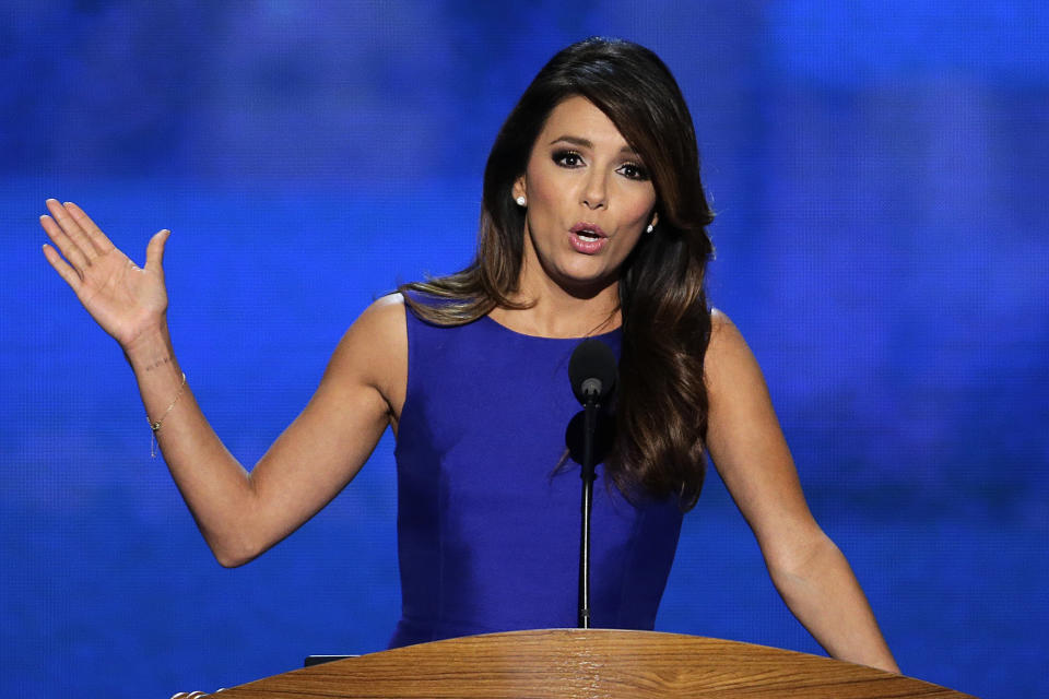 Obama Campaign Co-Chair Eva Longoria addresses the Democratic National Convention in Charlotte, N.C., on Thursday, Sept. 6, 2012. (AP Photo/J. Scott Applewhite)