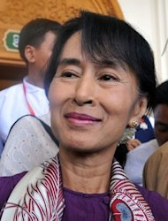 Myanmar opposition leader Aung San Suu Kyi, pictured on May 2, after attending a session at the lower house of parliament in Naypyidaw. Suu Kyi will travel overseas next week for the first time in more than two decades to attend an economic forum in Bangkok, according to her party