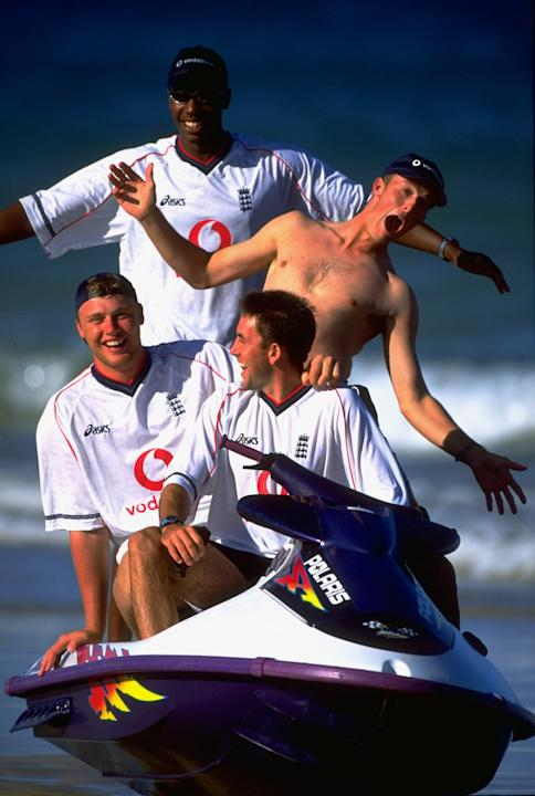 9 Dec 1999:  Alex Tudor, Graeme Swann, Andrew Flintoff and Chris Silverwood of England jet skiing before the Second Test against South Africa at the Crusaders Ground in St George's Park, Port Eliz