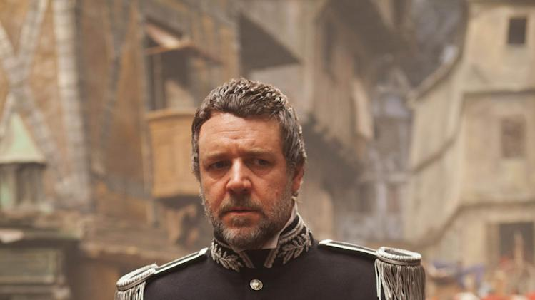 "This undated publicity photo provided by Universal Pictures shows Oscar®-winner, Russell Crowe, as Javert, in a scene from the film, ""Les Misérables."" (AP Photo/Universal Pictures/Laurie Sparham)"