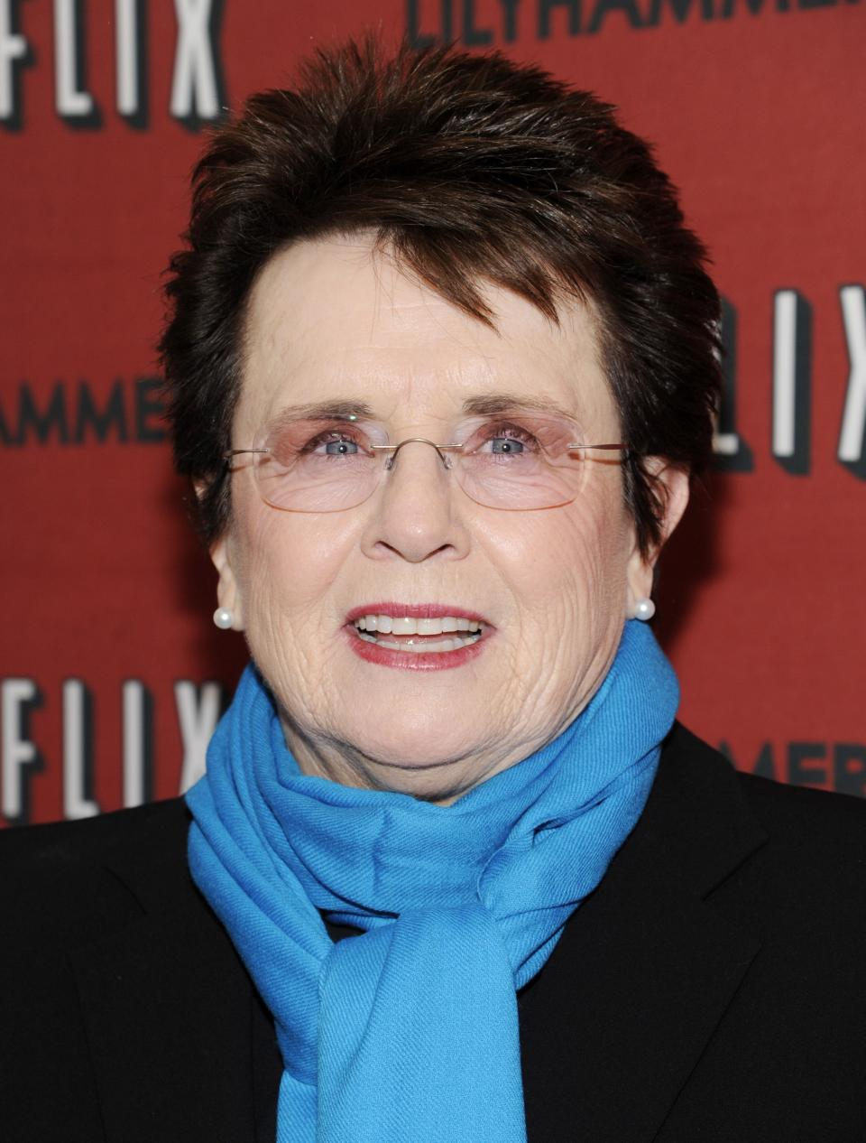 "File - In this Feb. 1, 2012 photo, Billie Jean King attends the premiere of a Netflix original series ""Lilyhammer"" in New York. King is joining Laura Ricketts and Jane Lynch in the formation of LPAC, a lesbian Super PAC that is scheduled to be launched on Wednesday. (AP Photo/Evan Agostini, File)"