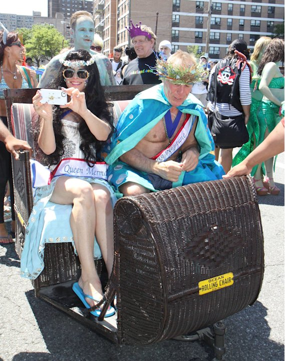Queen Mermaid Anabella Sciorra and Neptune Jackie Martling   The 2012 Mermaid Parade in Coney Island, Brooklyn New York City, USA - 23.06.12 Mandatory Credit: Michael Carpenter/ WENN.com
