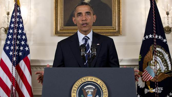 President Barack Obama speaks about Tropical Storm Isaac, Tuesday, Aug. 28, 2012, in the Diplomatic Room of the White House in Washington. (AP Photo/Carolyn Kaster)