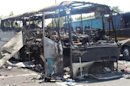A bus that was damaged in a bomb blast on Wednesday is seen outside Burgas Airport