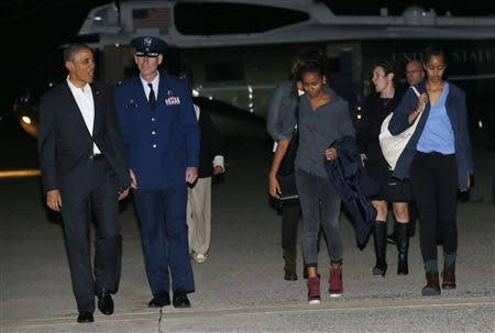 U.S. President Barack Obama and his family depart Joint Base Andrews in Washington