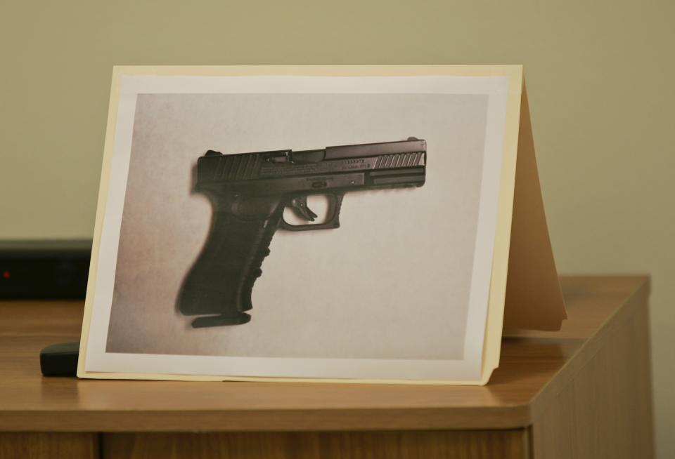 A photo of the carbon dioxide powered pellet handgun 15-year-old Jaime Gonzalez was holding at the time he was shot by police at Cummings Middle School is shown during a news conference Wednesday morning, Jan. 4, 2012 in Brownsville, Texas. (AP Photo/The Brownsville Herald, Yvette Vela)
