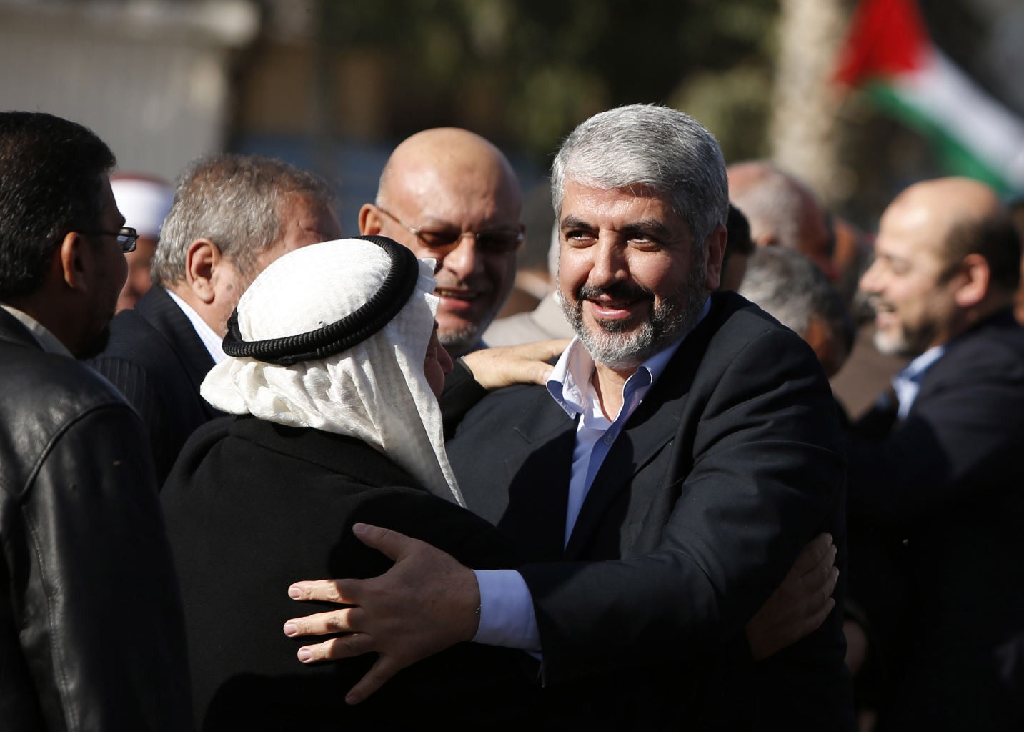 Exiled Hamas chief Khaled Mashaal upon his arrival at Rafah crossing in the southern Gaza Strip, Friday, Dec. 7, 2012.