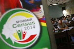 Volunteers attend a census training course at a school in Yangon