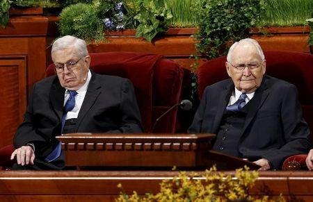 President Packer and Elder Perry of the Quorum of the Twelve Apostles of the LDS Church wait for the start of the first session of the 185th Annual General Conference of the Church in Salt Lake City