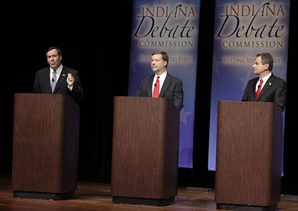 Candidates for Indiana's U.S. Senate seat Democrat Joe Donnelly, left, Libertarian Andrew Horning, center, and Republican Richard Mourdock participate in a debate in New Albany, Ind., Tuesday, Oct. 23, 2012. (AP Photo/Michael Conroy)