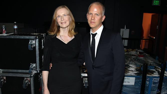 Frances Conroy, left, and Ryan Murphy pose backstage at the 2012 Creative Arts Emmys at the Nokia Theatre on Saturday, Sept. 15, 2012, in Los Angeles. (Photo by Matt Sayles/Invision/AP)