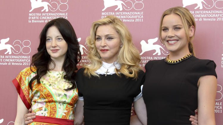 British actress Andrea Riseborough, US singer and director Madonna and Australian actress Abbie Cornish pose at the photo call for the film W.E. during the 68th edition of the Venice Film Festival in Venice, Italy, Thursday, Sept. 1, 2011. (AP Photo/Joel Ryan)