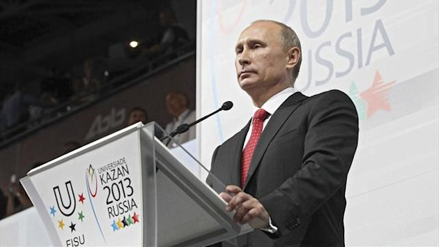 Russian President Vladimir Putin delivers a speech as he takes part in the ceremony opening of the Summer Universiade at the Kazan Arena Stadium in Kazan, July 6, 2013. Picture taken July 6, 2013. REUTERS
