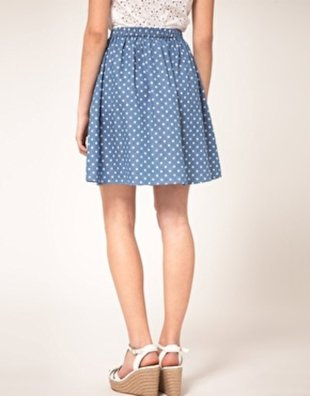 Dotted denim skirt
