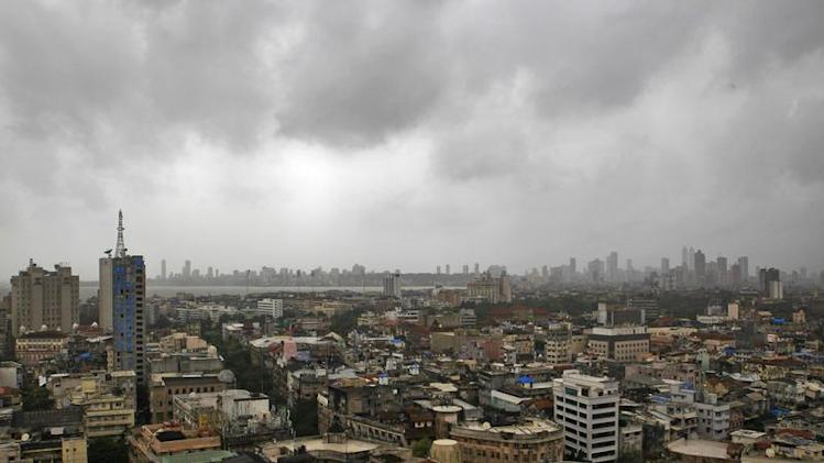 Monsoon clouds loom over Mumbai's skyline