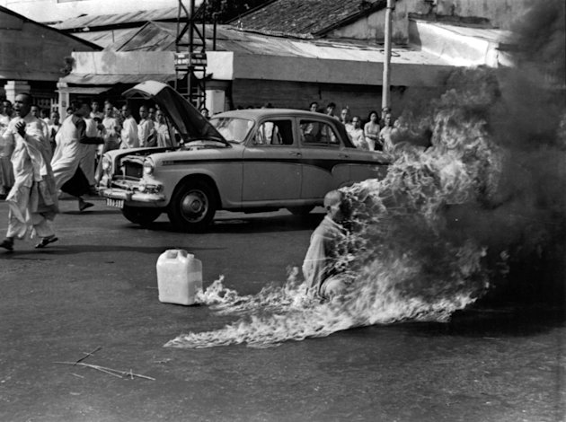 FILE - In this June 11, 1963 file photo, a Buddhist Monk sets himself on fire in Saigon to protest against the pro-Catholic Diem regime. Malcolm W. Browne, the former Associated Press correspondent who made the photo and was acclaimed for his trenchant reporting of the Vietnam War, has died. He was 81. (AP Photo/Malcolm Browne, File