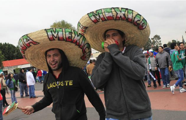 Fans of Mexico arrive at for the 2014 World Cup qualifying playoff first leg soccer match between Mexico and New Zealand at the Azteca stadium in Mexico City
