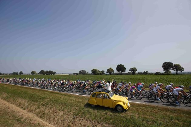 File photo of a pack of riders cycling on its way during the twelfth 218km stage of the centenary Tour de France cycling race from Fougeres to Tours