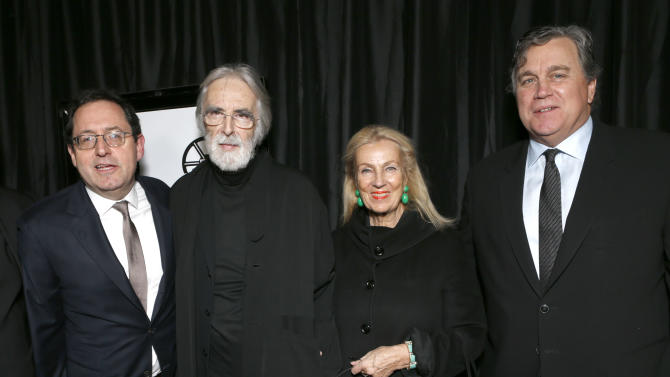 Sony Pictures Classics Co-President Michael Barker, director Michael Haneke, Susanne Haneke and Sony Pictures Classics Co-President Tom Bernard attend the LA Film Critics Association Awards at the InterContinental Hotel on Saturday, Jan. 12, 2013, in Los Angeles. (Photo by Todd Williamson/Invision/AP)